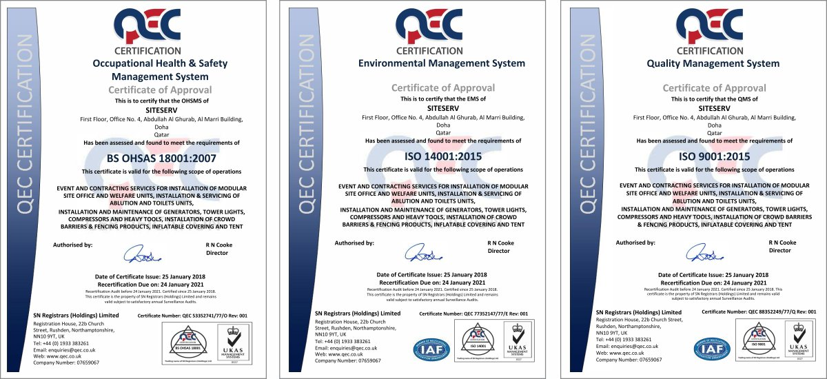 Quality ISO Certificates